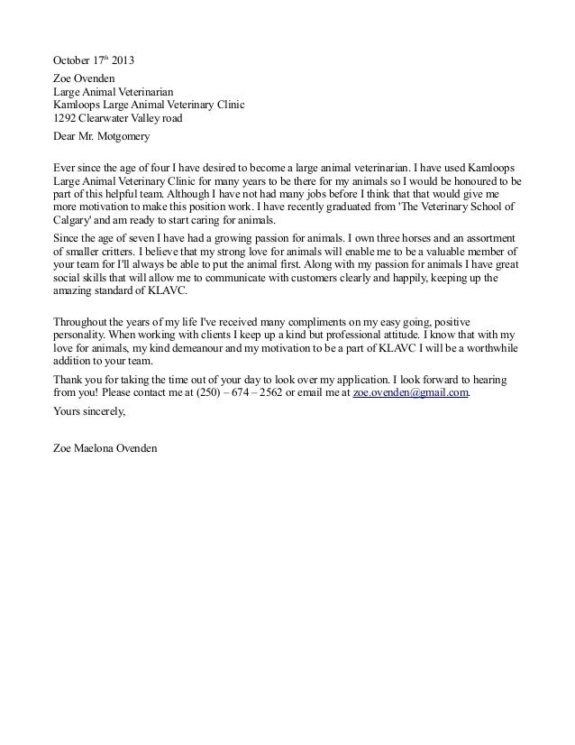 Veterinary technician cover letter