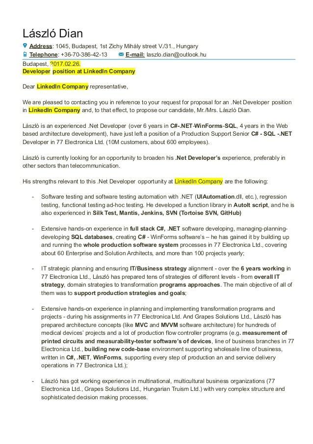 Cover Letter Laszlo Dian_linkedin. László Dian Address: 1045, Budapest, 1st  Zichy Mihály Street V./31 ...