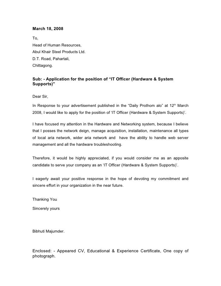 Cover Letter It Network - Network Technician Cover Letter