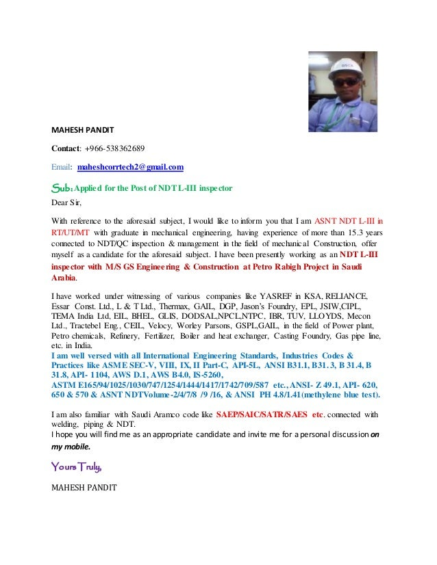 Cover letter of mahesh pandit for ndt l iii