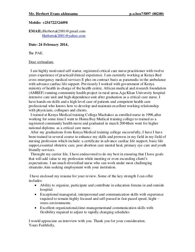 Cover letter pae p