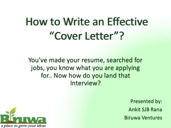 How To Write An Effective U201cCover Letteru201d?Youu0027ve Made Your Resume ...  Letter Of Presentation