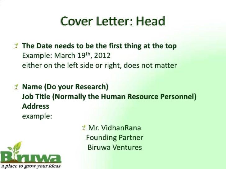 ... 6. Cover Letter: ...  Letter Of Presentation