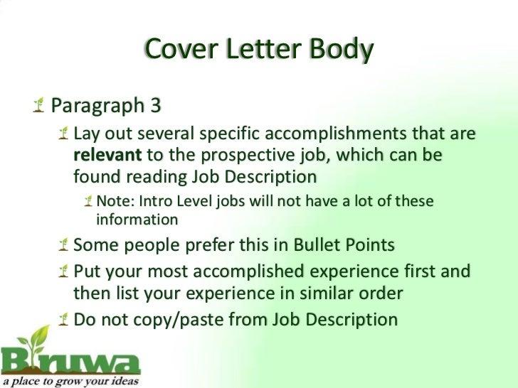 Cover Letter BodyParagraph ...