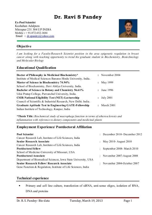 resume for assistant professor