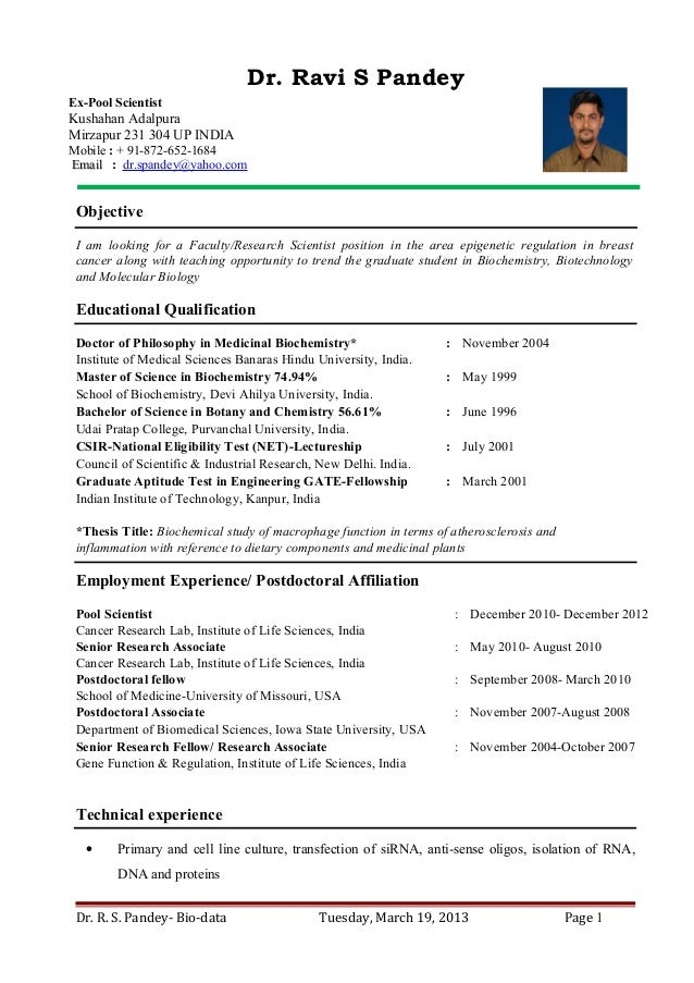 Dr Ravi S Pandey Resume For Assistant Professor Research Scientist