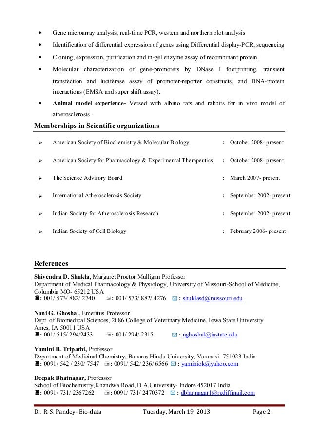 Dr. Ravi S Pandey Resume For Assistant Professor/ Research Scientist In  Biochemistry, Biotechnology And Molecular Biology