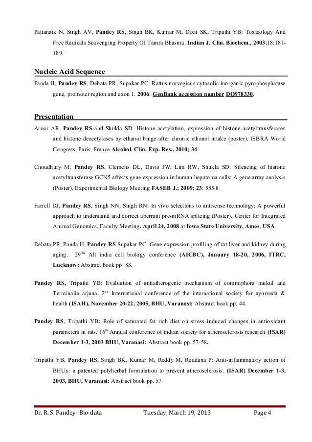 Dr  Ravi S Pandey-Resume for Assistant Professor/ Research