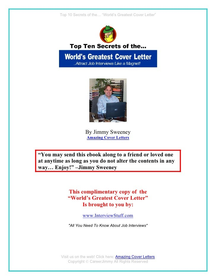 """Top 10 Secrets of the… """"World's Greatest Cover Letter""""                            By Jimmy Sweeney                        ..."""