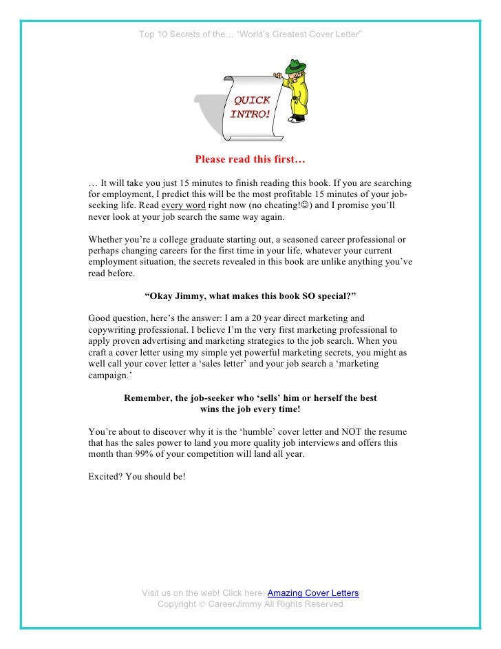 Click Here: Amazing Cover Letters Copyright  CareerJimmy All Rights  Reserved; 3.