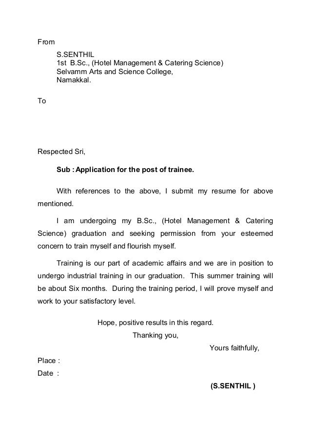 Superb Cover Letters. From S.SENTHIL 1st B.Sc., (Hotel Management U0026 Catering  Science ...