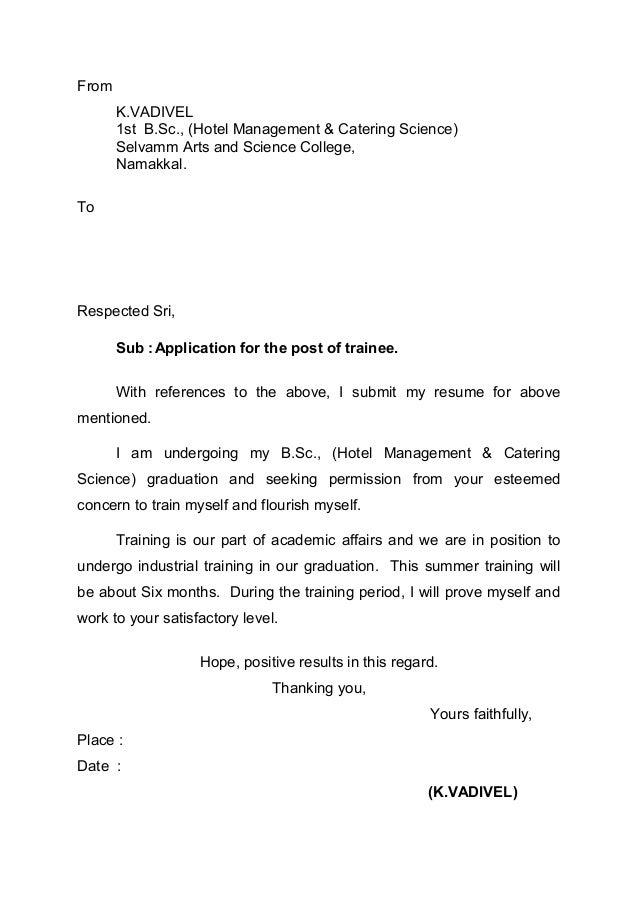 Application letter for hotel