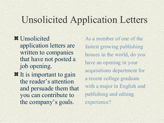Picture 4 Unsolicited Letter Of Application Example