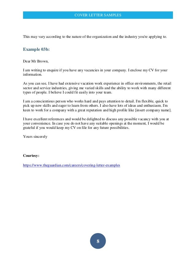 service industry cover letters