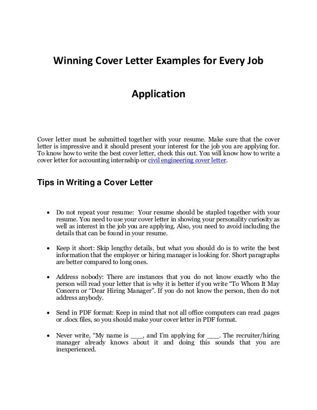 Wonderful Winning Cover Letter Examples For Every Job Application Cover Letter Must  Be Submitted Together With Your ...