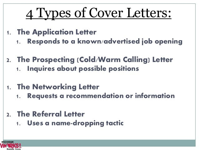 ... Kursmark; 6. 4 Types Of Cover Letters: ...  Cover Letter For Job Opening
