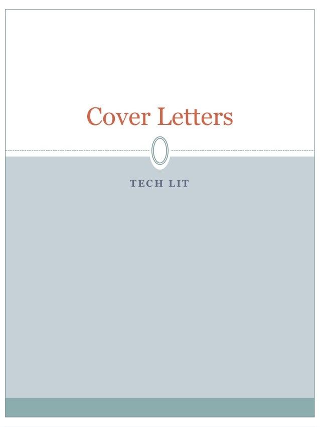 Cover Letters   TECH LIT