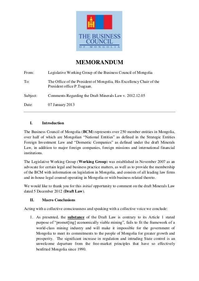 07.01.2013, Cover letter & Summary of BCM Memorandum, BCM