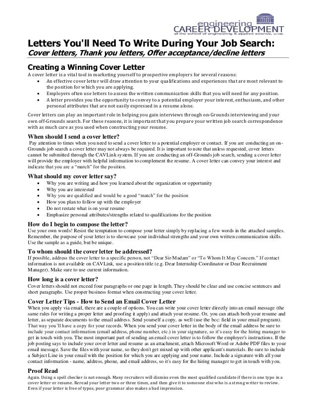 letters youll need to write during your job search cover letters - Constructing A Cover Letter