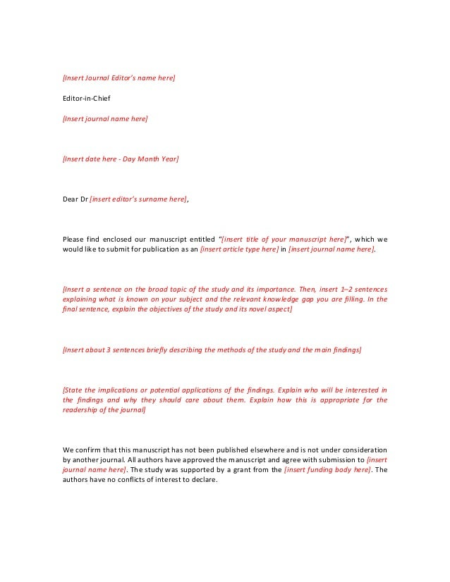 Cover Letter Dear Editor In Chief - Tips for writing a good ...