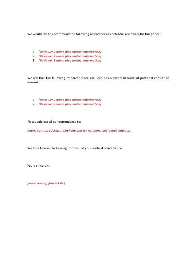 Cover Letter Template Short Extebded For Journal Editor