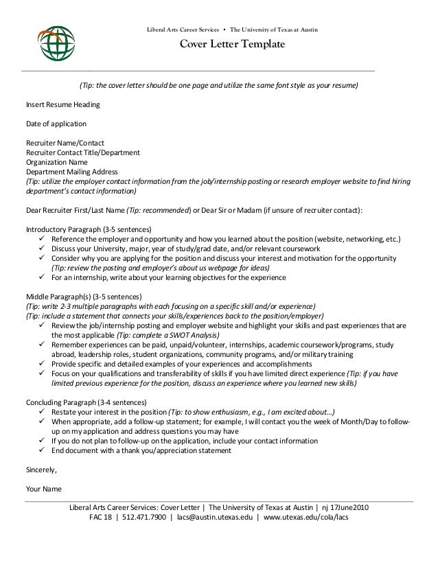 Liberal Arts Career Services U2022 The University Of Texas At Austin Cover  Letter Template (Tip