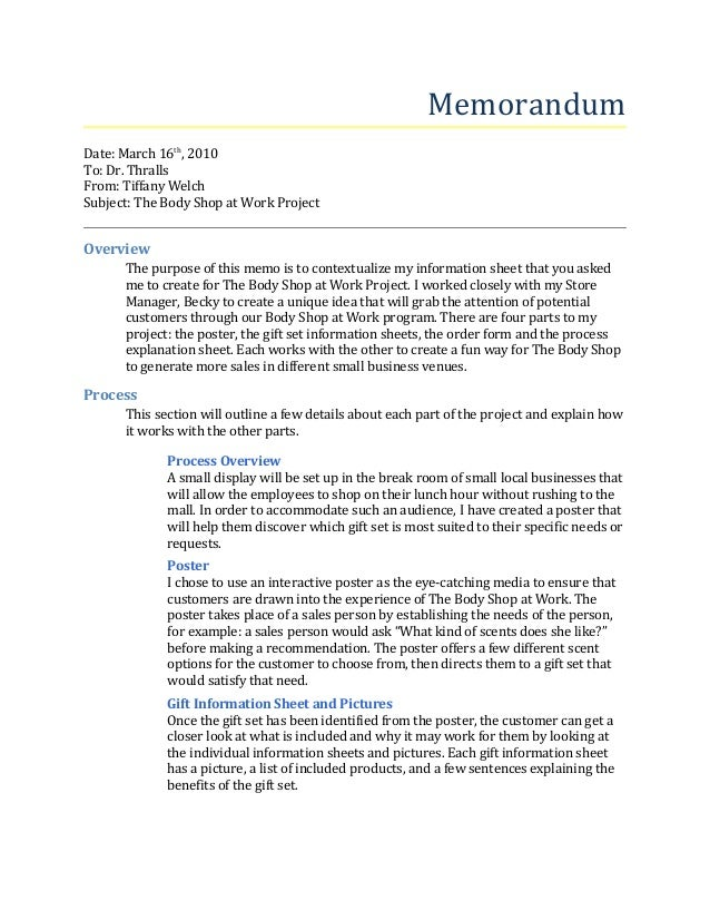 Memorandum Date: March 16th , 2010 To: Dr. Thralls From: Tiffany Welch  Order Form ...  Project Memo Template