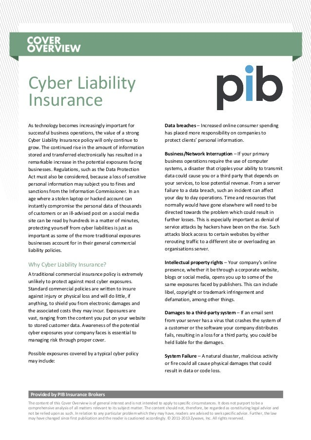 Provided by PIB Insurance Brokers The content of this Cover Overview is of general interest and is not intended to apply t...