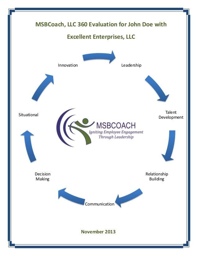 MSBCoach, LLC 360 Evaluation for John Doe with Excellent Enterprises, LLC  Innovation  Leadership  Talent Development  Sit...