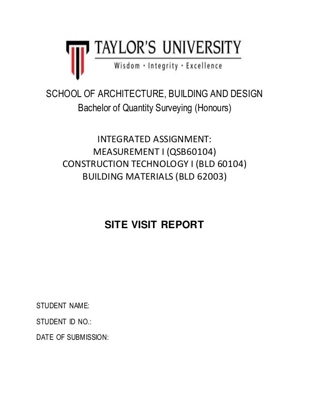 Cover Page For Site Visit Report