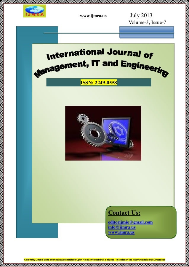 www.ijmra.us July 2013 Volume-3, Issue-7 A Monthly Double-Blind Peer Reviewed Refereed Open Access International e-Journal...