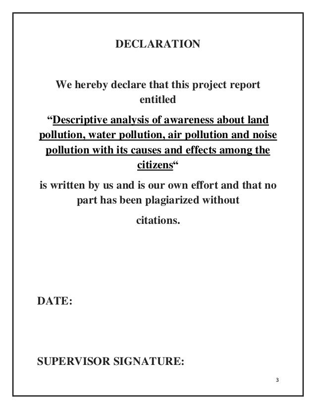 report writing on water pollution