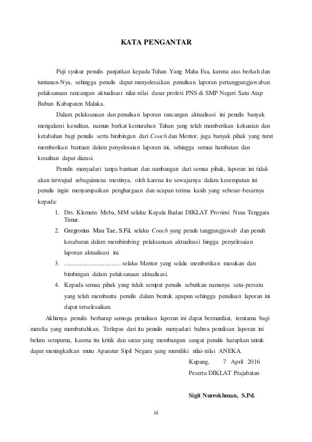 Cover Rancangan Aktualisasi Nilai Nilai Dasar Profesi Pns Guru Smp Ne