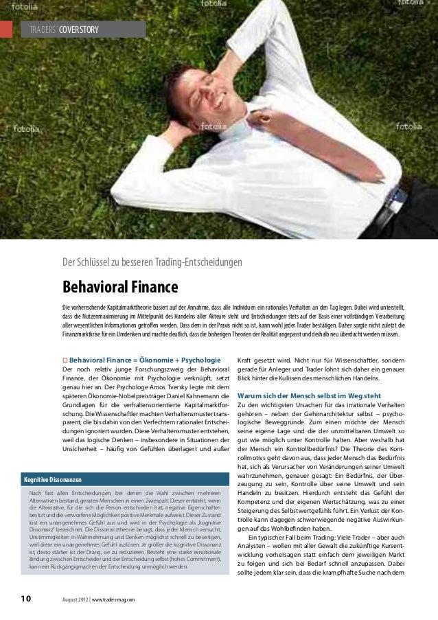 TRADERS´COVERSTORY  Der Schlüssel zu besseren Trading-Entscheidungen  Behavioral Finance  Die vorherrschende Kapitalmarktt...