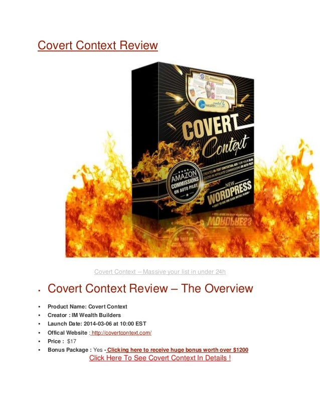 Covert Context Review  Covert Context – Massive your list in under 24h   Covert Context Review – The Overview    Product...