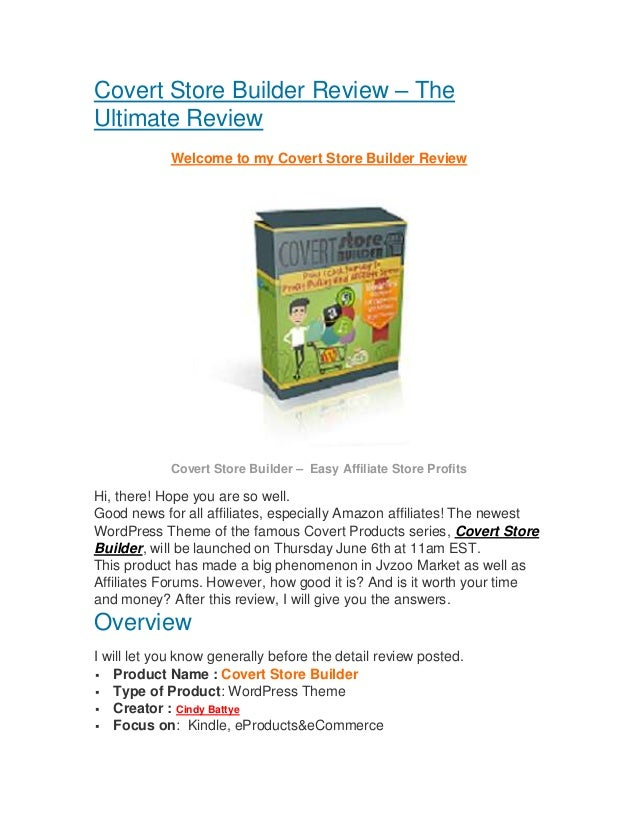 Covert Store Builder Review – TheUltimate ReviewWelcome to my Covert Store Builder ReviewCovert Store Builder – Easy Affil...