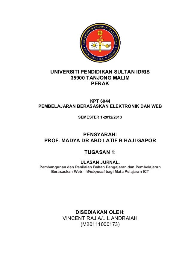 UNIVERSITI PENDIDIKAN SULTAN IDRIS           35900 TANJONG MALIM                   PERAK                 KPT 6044PEMBELAJA...