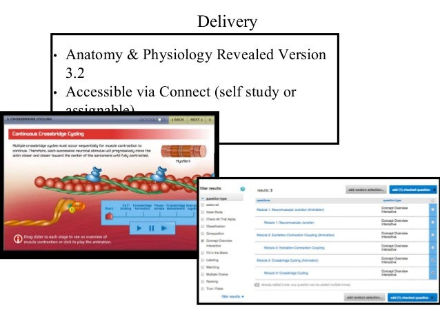 Delivery • Anatomy & Physiology Revealed Version 3.2 • Accessible via Connect (self study or assignable)