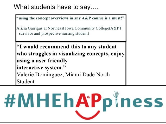 """What students have to say…. """"using the concept overviews in any A&P course is a must!"""" Alicia Garrigus at Northeast Iowa C..."""