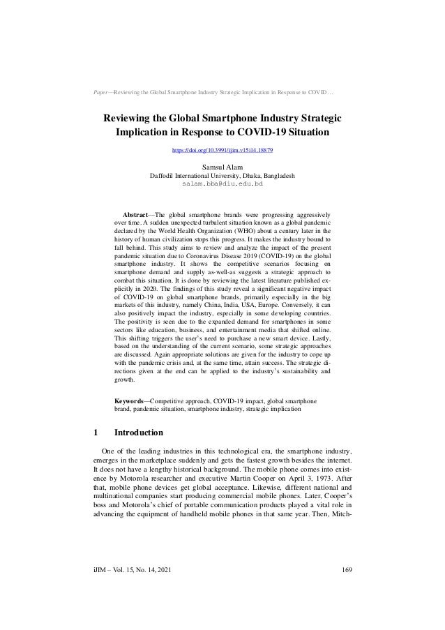 Paper—Reviewing the Global Smartphone Industry Strategic Implication in Response to COVID… Reviewing the Global Smartphone...