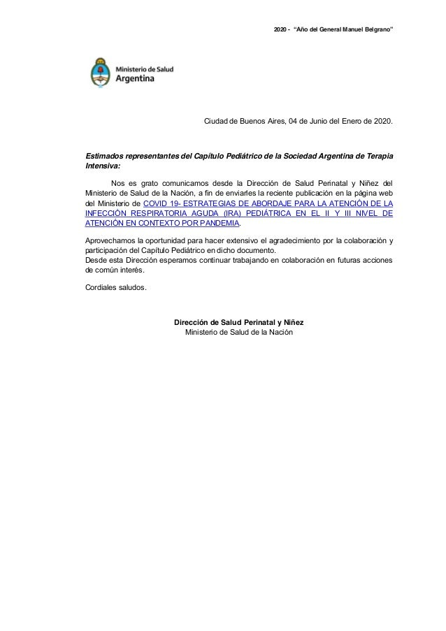 """2020 - """"Año del General Manuel Belgrano"""" Ciudad de Buenos Aires, 04 de Junio del Enero de 2020. Estimados representantes d..."""