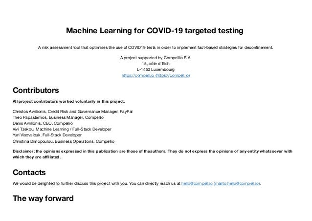 Machine Learning for COVID-19 targeted testing A risk assessment tool that optimises the use of COVID19 tests in order to ...