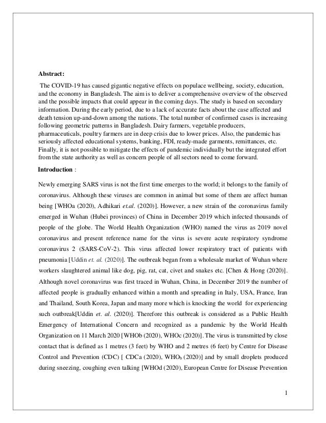 1 Abstract: The COVID-19 has caused gigantic negative effects on populace wellbeing, society, education, and the economy i...