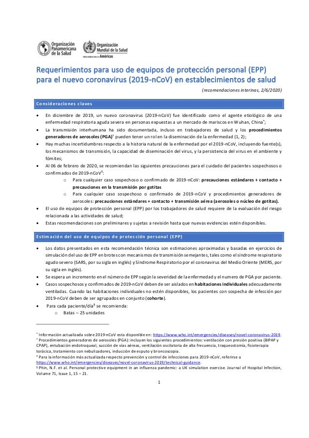 1 Requerimientos para uso de equipos de protección personal (EPP) para el nuevo coronavirus (2019-nCoV) en establecimiento...