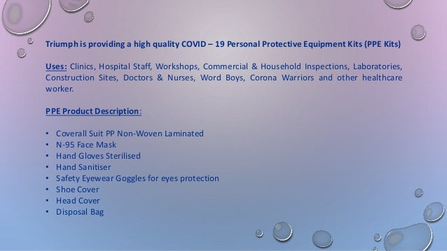 Covid-19 PERSONAL PROTECTIVE EQUIPMENTS KITS (PPE Kits) Slide 2
