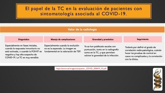 El papel de la TC en la evaluación de pacientes con sintomatología asociada al COVID-19. https://seram.es/images/site/post...