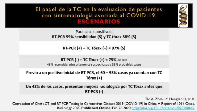 El papel de la TC en la evaluación de pacientes con sintomatología asociada al COVID-19. ESCENARIOS Tao A, ZhenluY, Hongya...