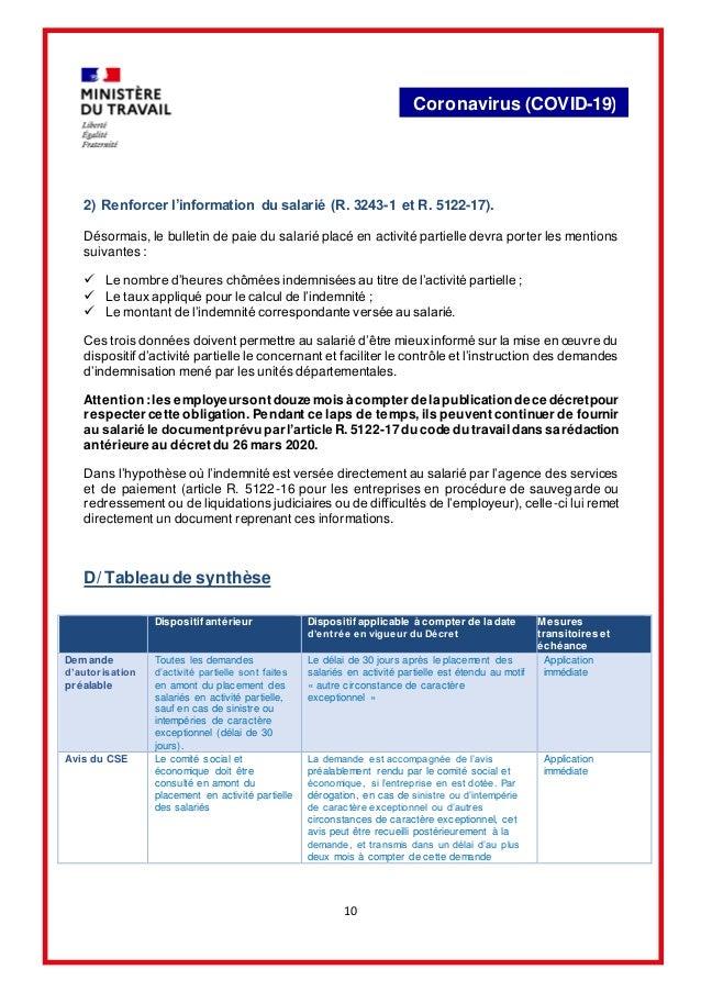 10 Coronavirus (COVID-19) 2) Renforcer l'information du salarié (R. 3243-1 et R. 5122-17). Désormais, le bulletin de paie ...