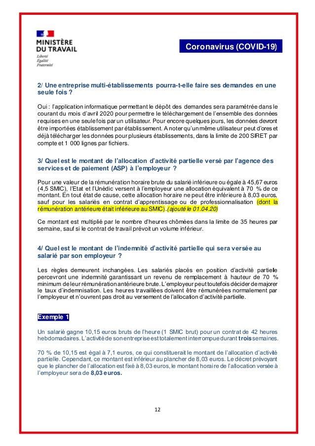 12 Coronavirus (COVID-19) 2/ Une entreprise multi-établissements pourra-t-elle faire ses demandes en une seule fois ? Oui ...