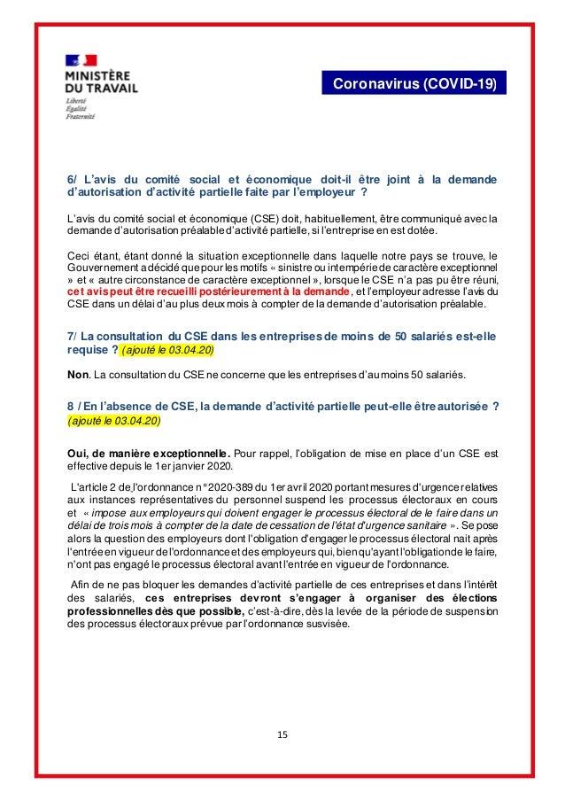 15 Coronavirus (COVID-19) 6/ L'avis du comité social et économique doit-il être joint à la demande d'autorisation d'activi...
